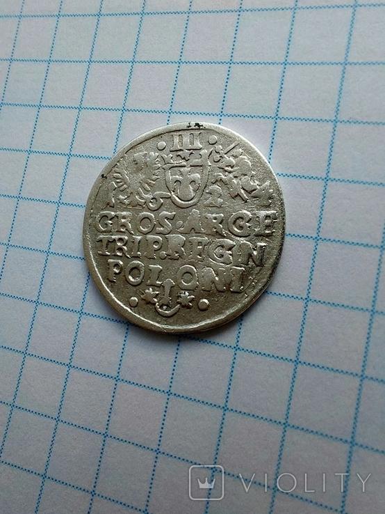 Трояк 1624 р перечекан букви., фото №5