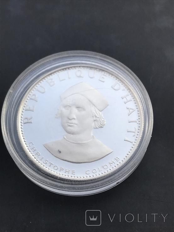 25 гурдес Гаити 1973 Колумб серебро, фото №2