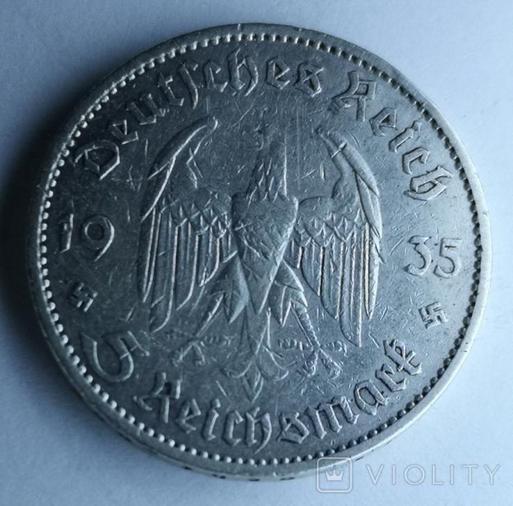 5 марок 1935 А Кирха Гарнизонная церковь в Потсдаме, фото №3