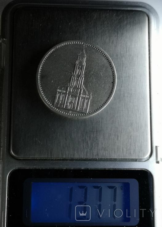 5 марок 1935 А Кирха Гарнизонная церковь в Потсдаме, фото №6