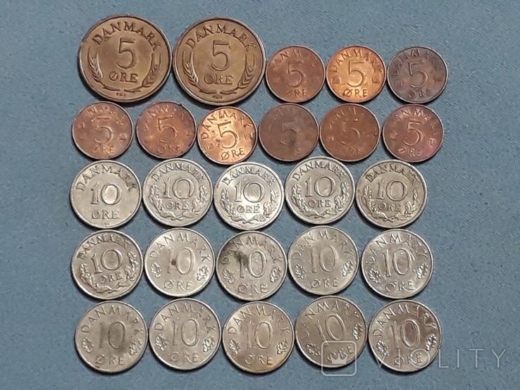 Монеты Дании 26 штук Все разные, фото №2