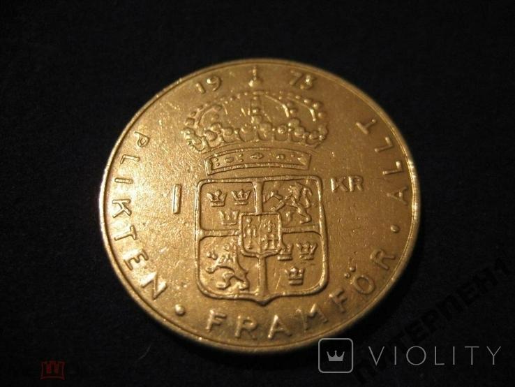 Швеция 1 крона 1973 U, фото №3