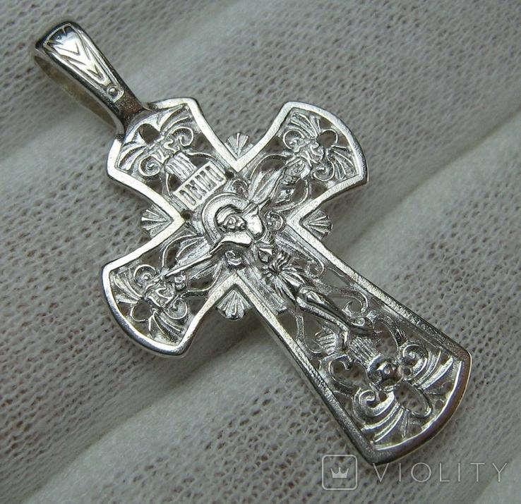 Новый Серебряный Крест Крестик Распятие Узор Ажурный 925 проба Серебро 447, фото №2