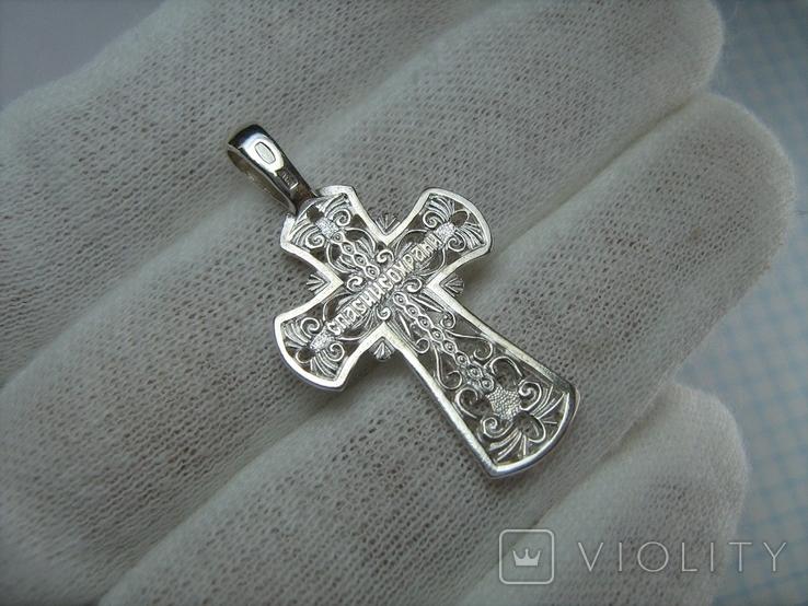 Новый Серебряный Крест Крестик Распятие Узор Ажурный 925 проба Серебро 447, фото №3