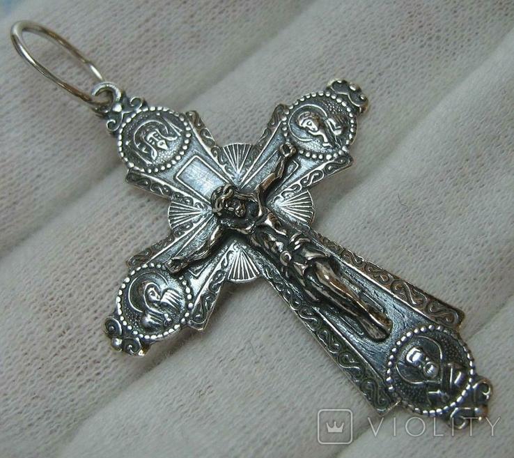 Новый Серебряный Крест Крестик Распятие Купола Святой Дух Голубь 925 проба Серебро 313, фото №2