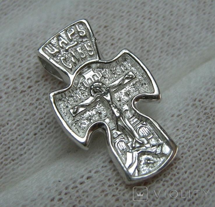 Новый Серебряный Крест Крестик Маленький Детский для Ребенка Покрова 925 проба 446, фото №2