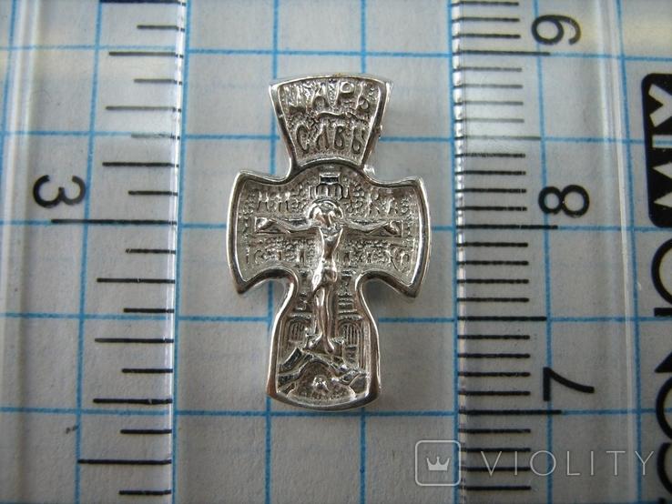 Новый Серебряный Крест Крестик Маленький Детский для Ребенка Покрова 925 проба 446, фото №4