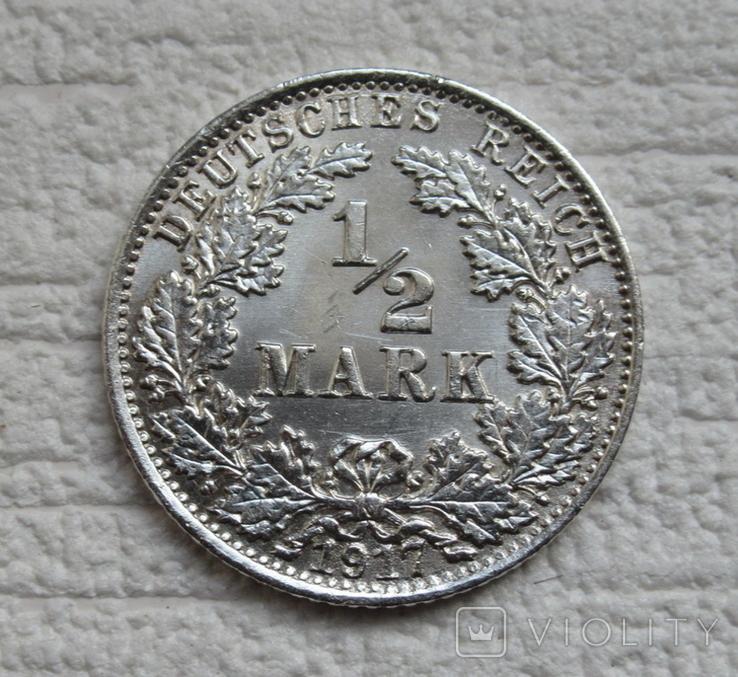 1/2 марки 1917 г. (А) Германия, серебро, фото №3