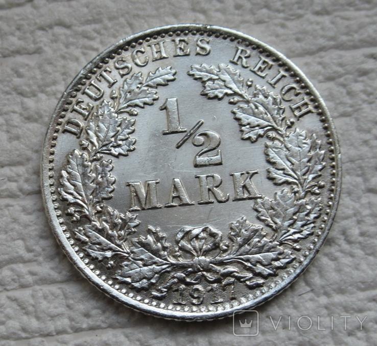 1/2 марки 1917 г. (А) Германия, серебро, фото №5