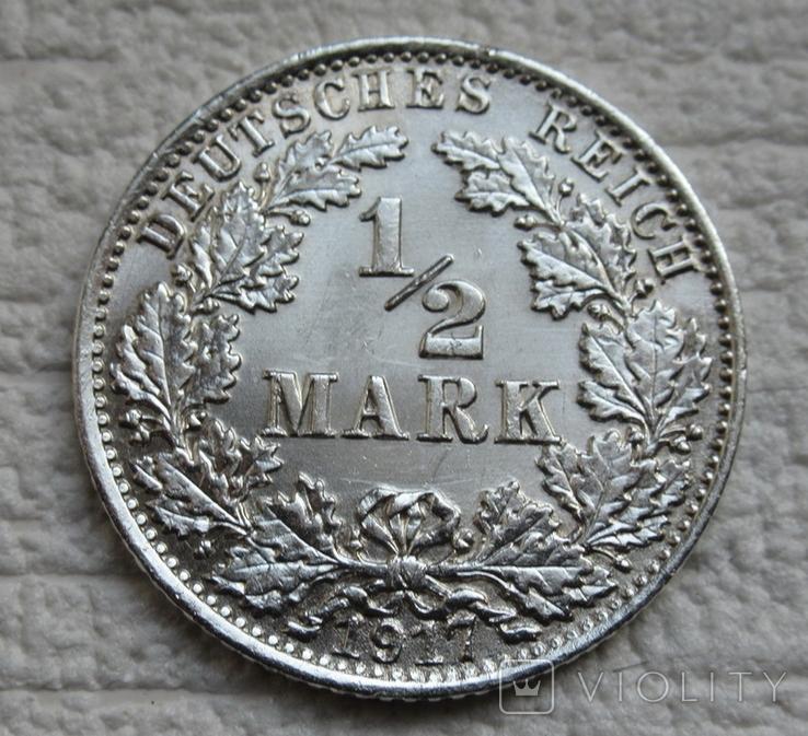 1/2 марки 1917 г. (А) Германия, серебро, фото №7