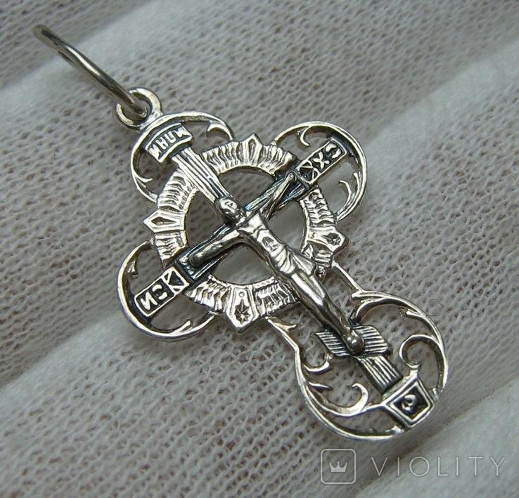 Новый Серебряный Крест Крестик Распятие с Красивым Узором 925 проба Серебро 370, фото №2