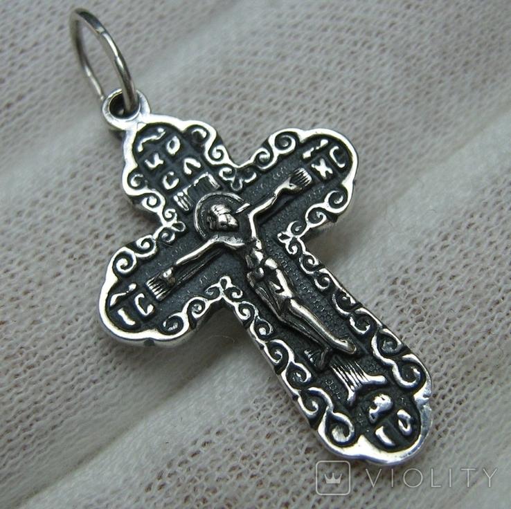 Новый Серебряный Крест Крестик Распятие Господи спаси и сохрани 925 проба Серебро 450, фото №2