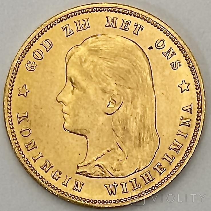 10 гульденов. 1897. Королева Вильгельмина. Нидерланды (золото 900, вес 6,66 г), фото №2