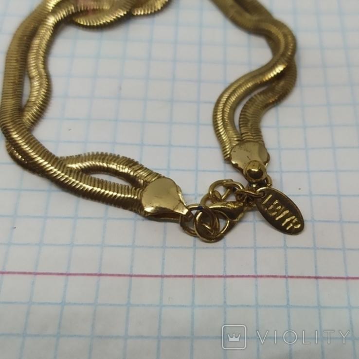 Браслет из двойной гибкой цепочки. Под золото (3), фото №5