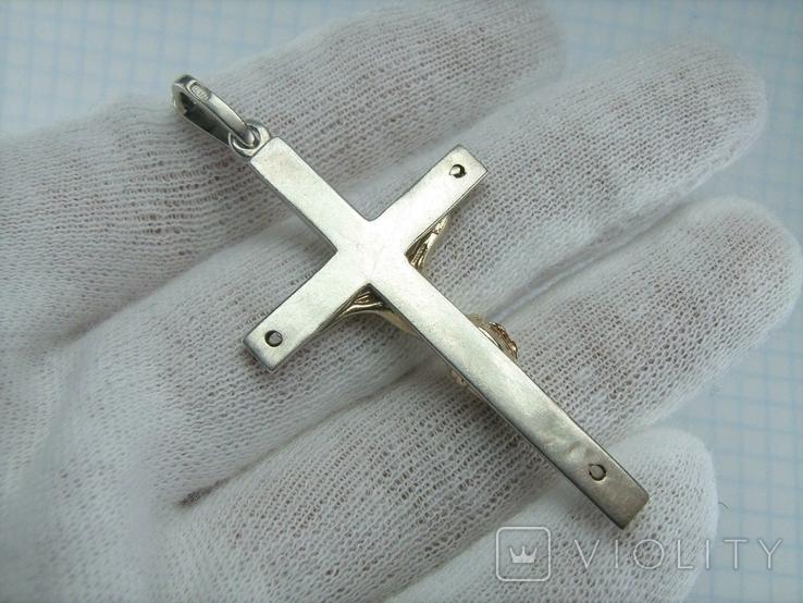 Серебряный Крест Большой Распятие Иисус Христос 925 проба Серебро Позолота 573, фото №3