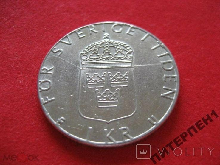 Швеция 1 крона 1982 U, фото №3