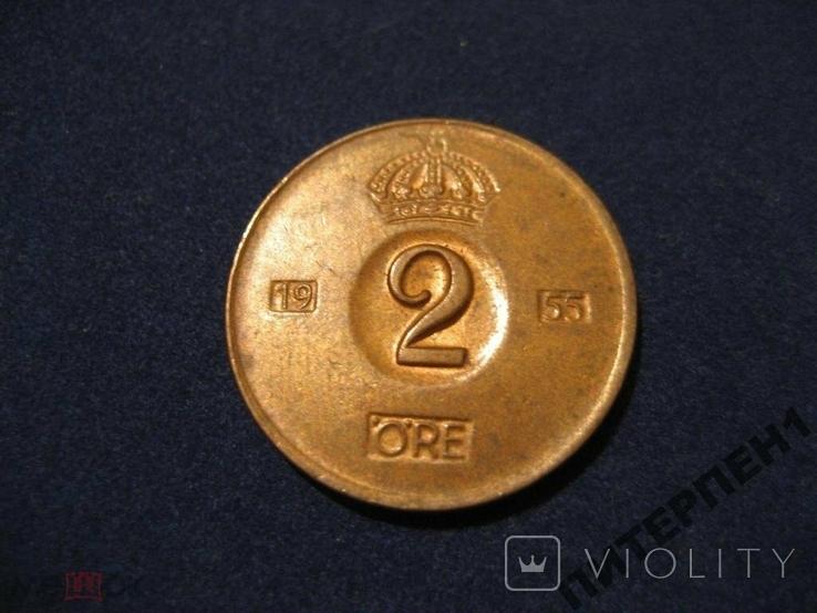 Швеция 2 эре 1955 TS, фото №2
