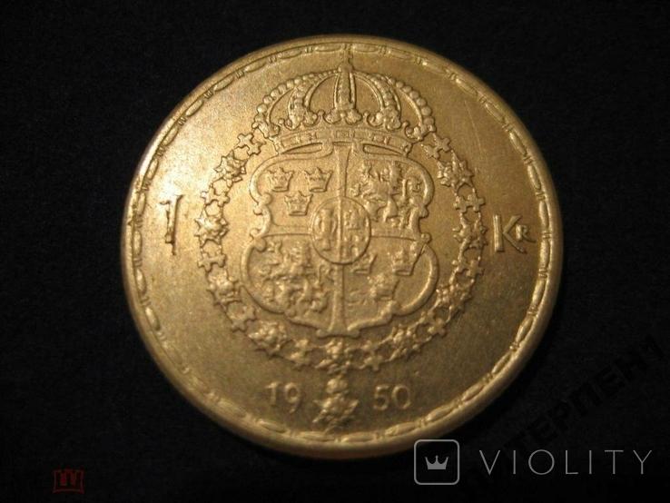 Швеция 1 крона 1950 TS, фото №3