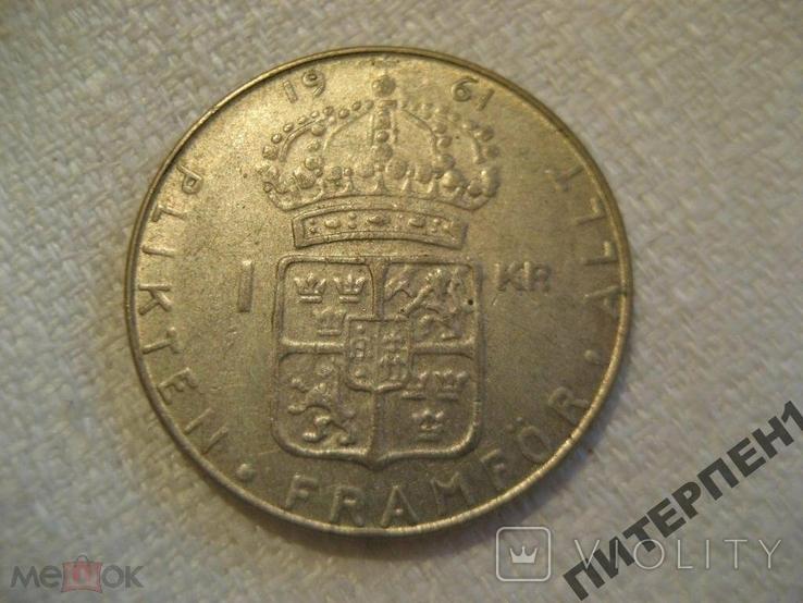 Швеция 1 крона 1961 U, фото №3