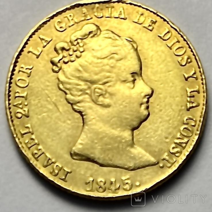 80 реалов. 1845. Изабелла II. Испания (золото 875, вес 6,70 г), фото №2