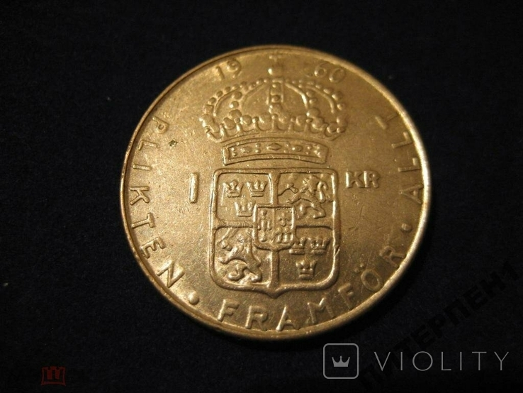 Швеция 1 крона 1960 TS, фото №3