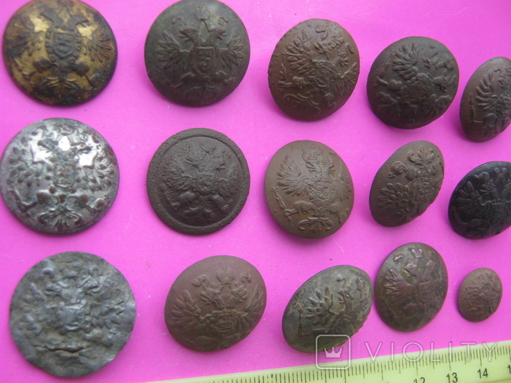 Колекція царських пуговиць з різними написами, фото №4