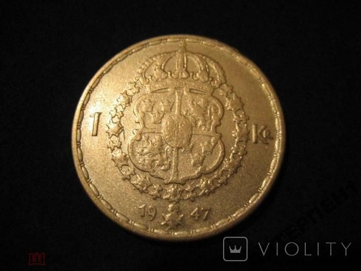 Швеция 1 крона 1947 TS, фото №3