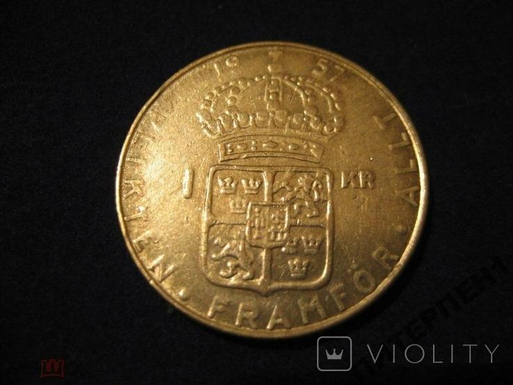 Швеция 1 крона 1957 TS, фото №3