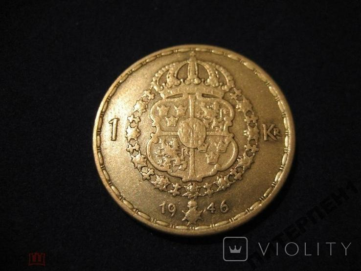 Швеция 1 крона 1946 TS, фото №3