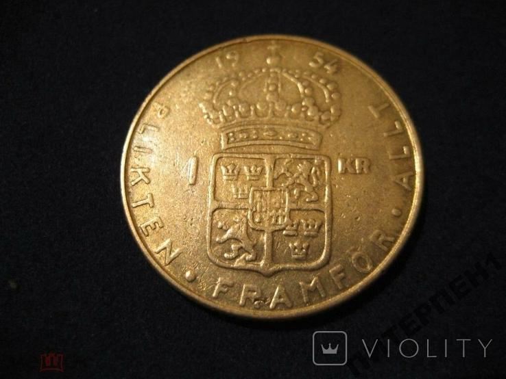 Швеция 1 крона 1954 TS, фото №3