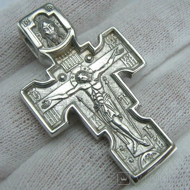 Серебряный Крест Архангел Михаил Распятие Спас Нерукотворный Богородица 925 проба 574, фото №2