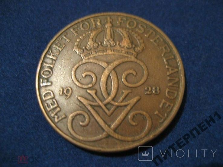 Швеция 5 эре 1928 г, фото №3