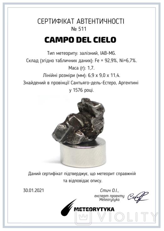 Залізний метеорит Campo del Cielo, 1,7 грам, із сертифікатом автентичності, фото №3
