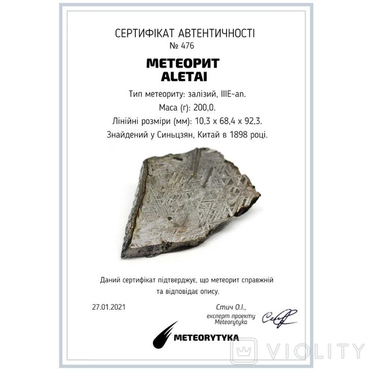 Залізний метеорит Aletai, 200,0 грам, із сертифікатом автентичності, фото №3