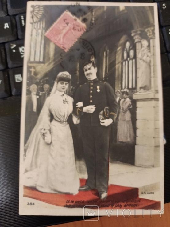 Свадебная, жених военный награды с невестой в церкви, 1906, Франция, фото №6