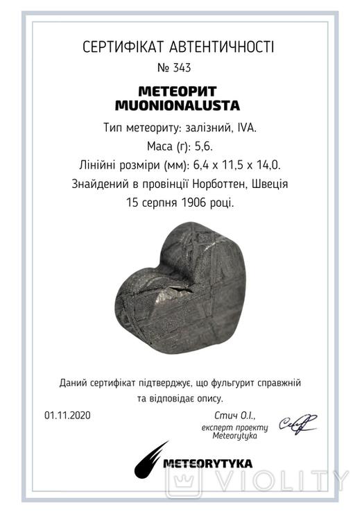 Залізній метеорит Muonionalusta, форма серця, 5,6 грам, сертифікат автентичності, фото №12