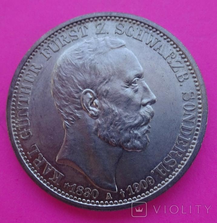 3 марки, Шварцбург-Зондерхаус, 1909 год., фото №5