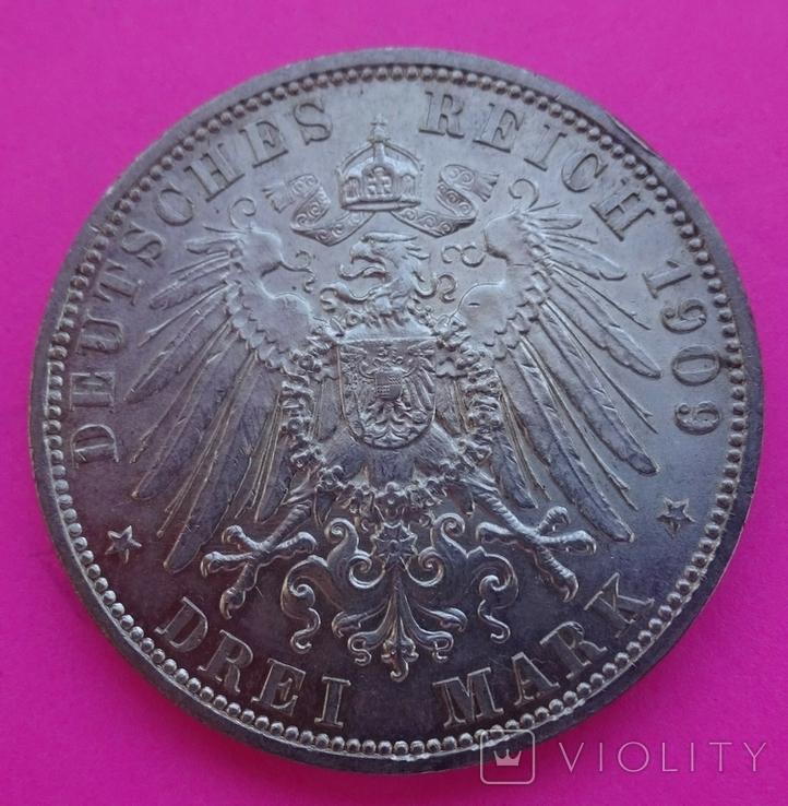 3 марки, Шварцбург-Зондерхаус, 1909 год., фото №6