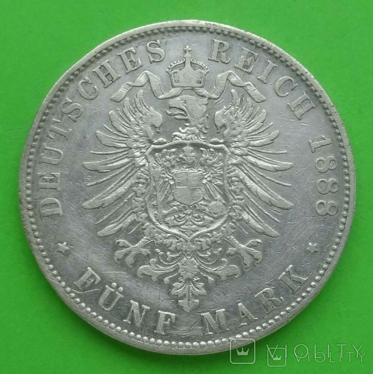5 марок, Бавария (Германия), 1888 год., фото №5