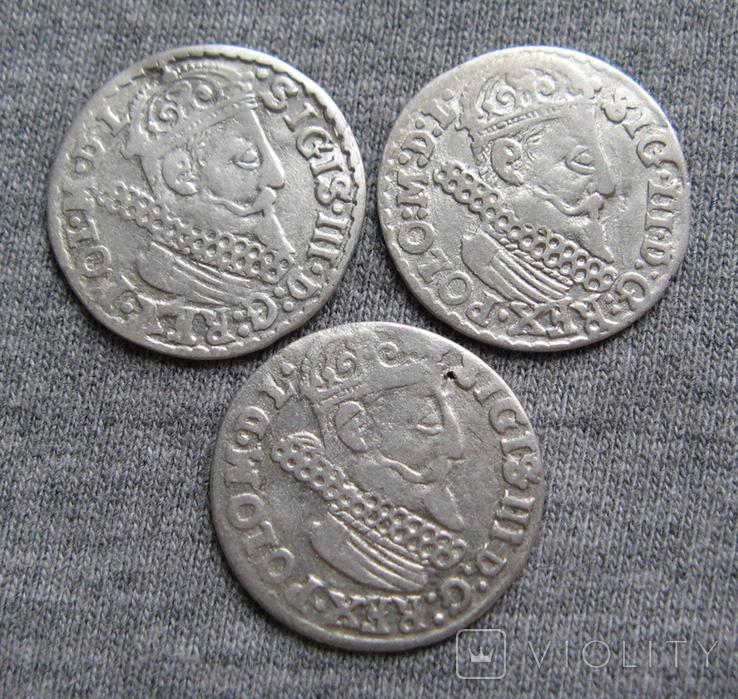 Трояки 1623 года. Сиг. ІІІ Ваза. Разновидности ( 3 штуки )., фото №2