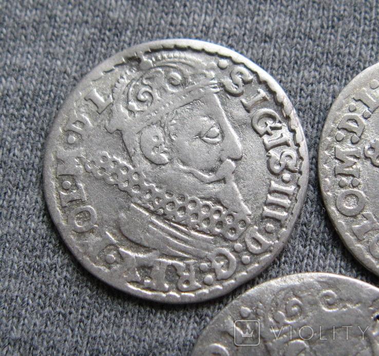 Трояки 1623 года. Сиг. ІІІ Ваза. Разновидности ( 3 штуки )., фото №4