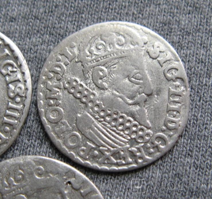 Трояки 1623 года. Сиг. ІІІ Ваза. Разновидности ( 3 штуки )., фото №5