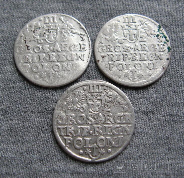 Трояки 1623 года. Сиг. ІІІ Ваза. Разновидности ( 3 штуки )., фото №8