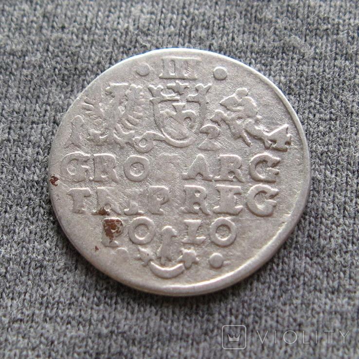 Трояк 1624 года. Сиг. ІІІ Ваза ( Всадник Без Меча )., фото №2