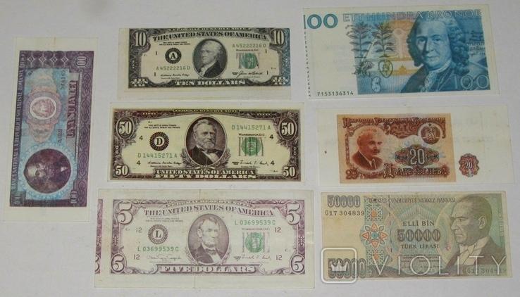 №11 Вкладыши от жвачек Деньги , боны мира 7 штук., фото №2