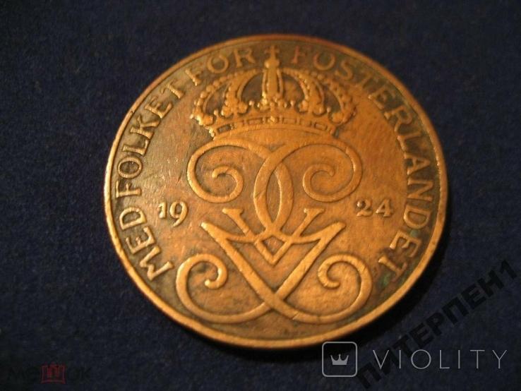 Швеция 5 эре 1924 г, фото №3