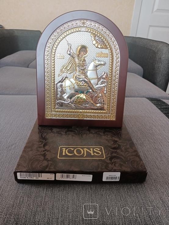 """Икона в серебре """"Георгий Победоносец побеждающий Змия"""" Греция, фото №2"""
