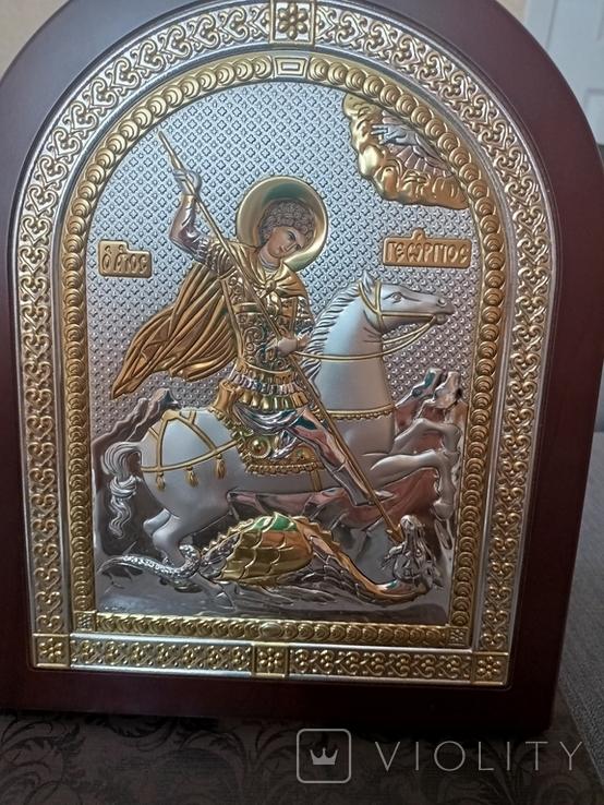 """Икона в серебре """"Георгий Победоносец побеждающий Змия"""" Греция, фото №4"""