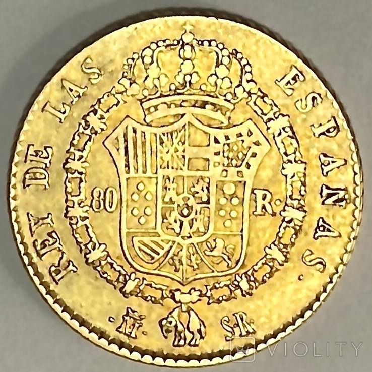 80 реалов. 1822. Фердинанд VII. Испания (золото 875, вес 6,64 г), фото №4