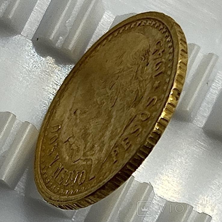 2,5 песо. 1945. Мексика (золото 900, вес 2,08 г), фото №7